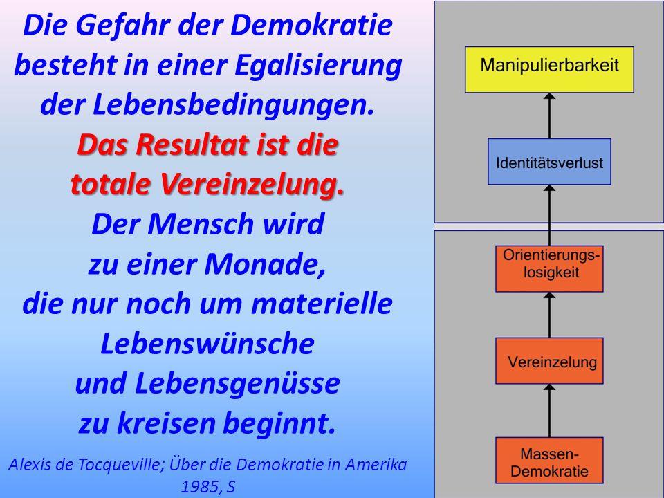 Die Gefahr der Demokratie besteht in einer Egalisierung der Lebensbedingungen. Das Resultat ist die totale Vereinzelung. Der Mensch wird zu einer Mona