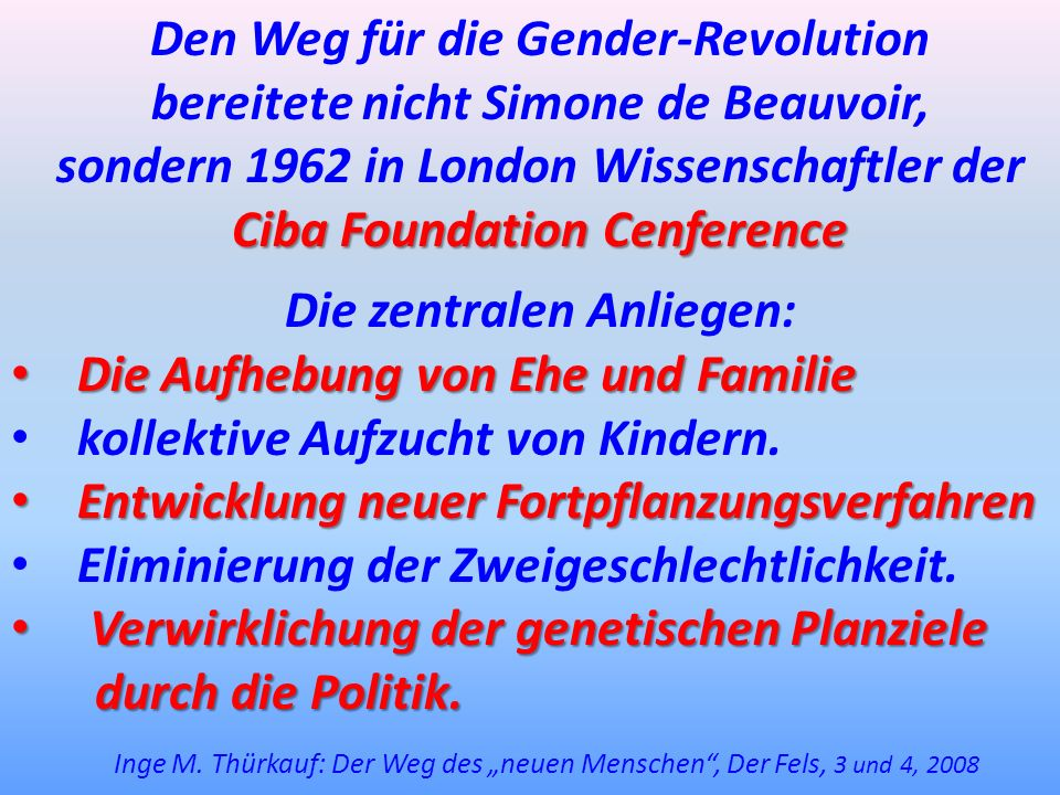 Den Weg für die Gender-Revolution bereitete nicht Simone de Beauvoir, sondern 1962 in London Wissenschaftler der Ciba Foundation Cenference Die zentra