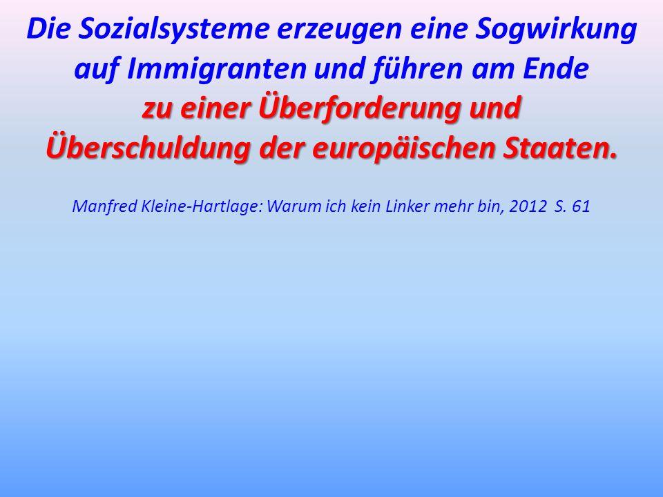Die Sozialsysteme erzeugen eine Sogwirkung auf Immigranten und führen am Ende zu einer Überforderung und Überschuldung der europäischen Staaten. Manfr