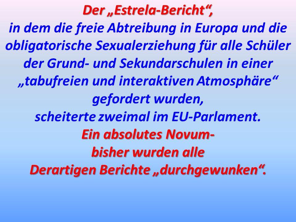 Der Estrela-Bericht, in dem die freie Abtreibung in Europa und die obligatorische Sexualerziehung für alle Schüler der Grund- und Sekundarschulen in e