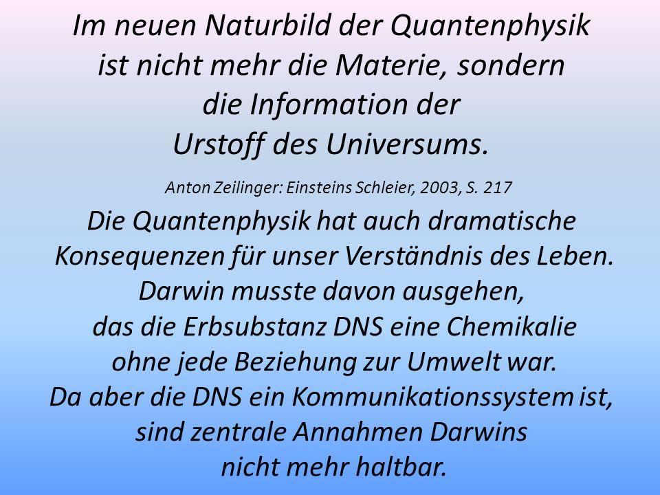 Im neuen Naturbild der Quantenphysik ist nicht mehr die Materie, sondern die Information der Urstoff des Universums. Anton Zeilinger: Einsteins Schlei