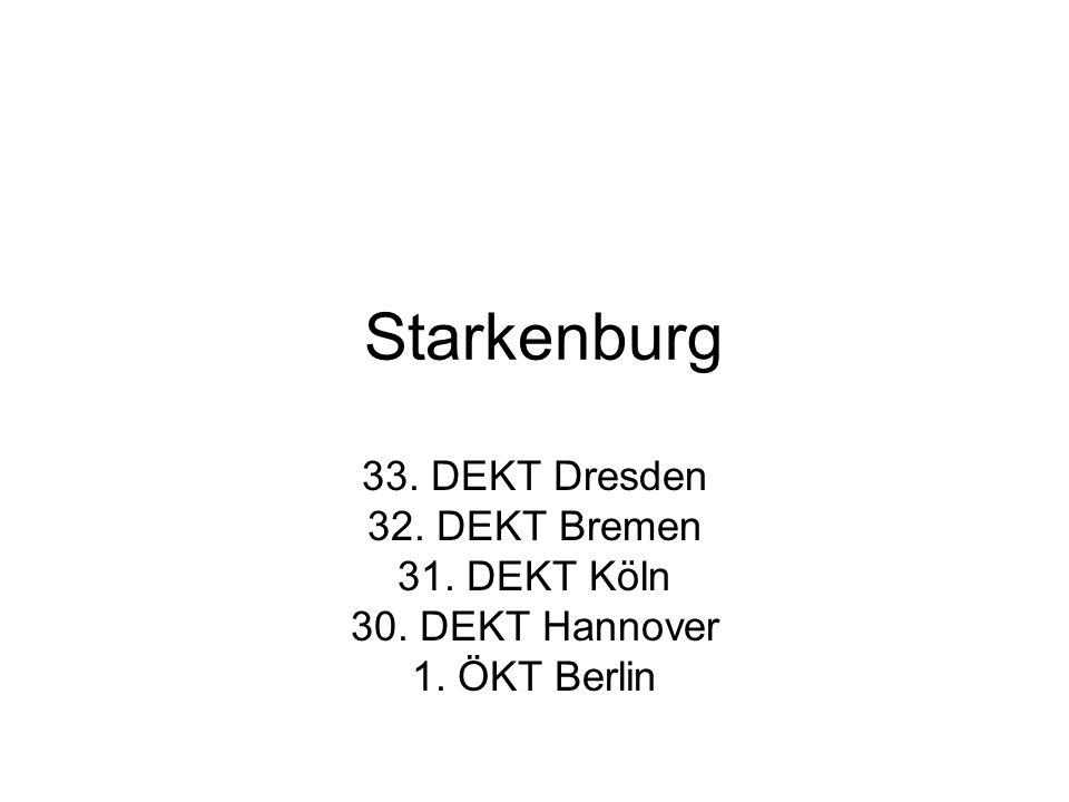 Starkenburg 33. DEKT Dresden 32. DEKT Bremen 31. DEKT Köln 30. DEKT Hannover 1. ÖKT Berlin
