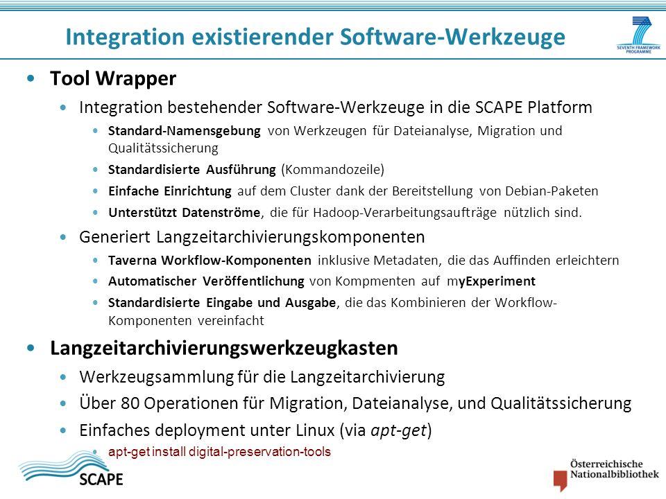 Tool Wrapper Integration bestehender Software-Werkzeuge in die SCAPE Platform Standard-Namensgebung von Werkzeugen für Dateianalyse, Migration und Qua