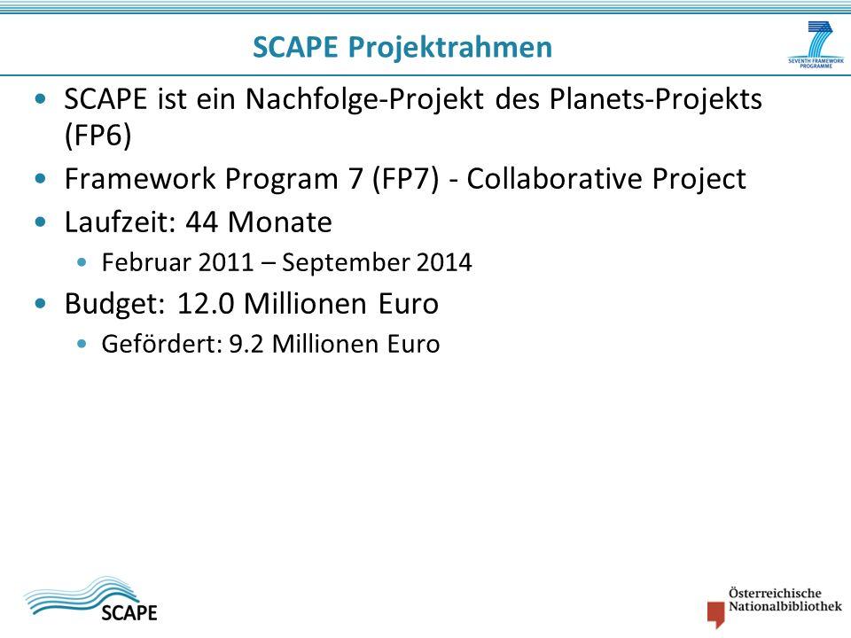 SCAPE Projektrahmen SCAPE ist ein Nachfolge-Projekt des Planets-Projekts (FP6) Framework Program 7 (FP7) - Collaborative Project Laufzeit: 44 Monate F