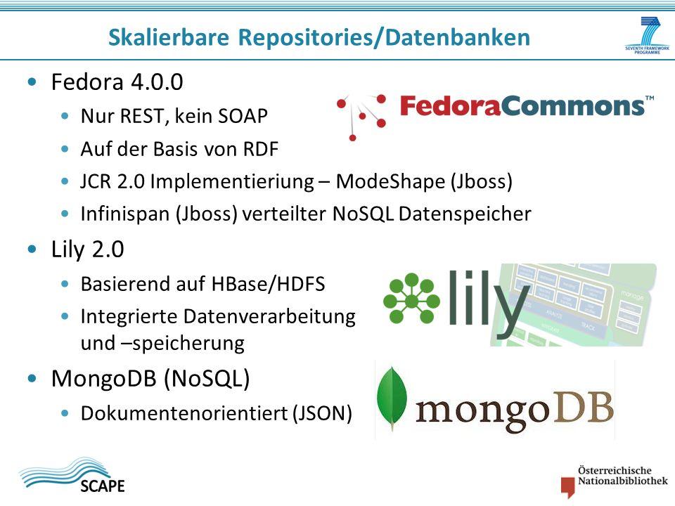 Fedora 4.0.0 Nur REST, kein SOAP Auf der Basis von RDF JCR 2.0 Implementieriung – ModeShape (Jboss) Infinispan (Jboss) verteilter NoSQL Datenspeicher