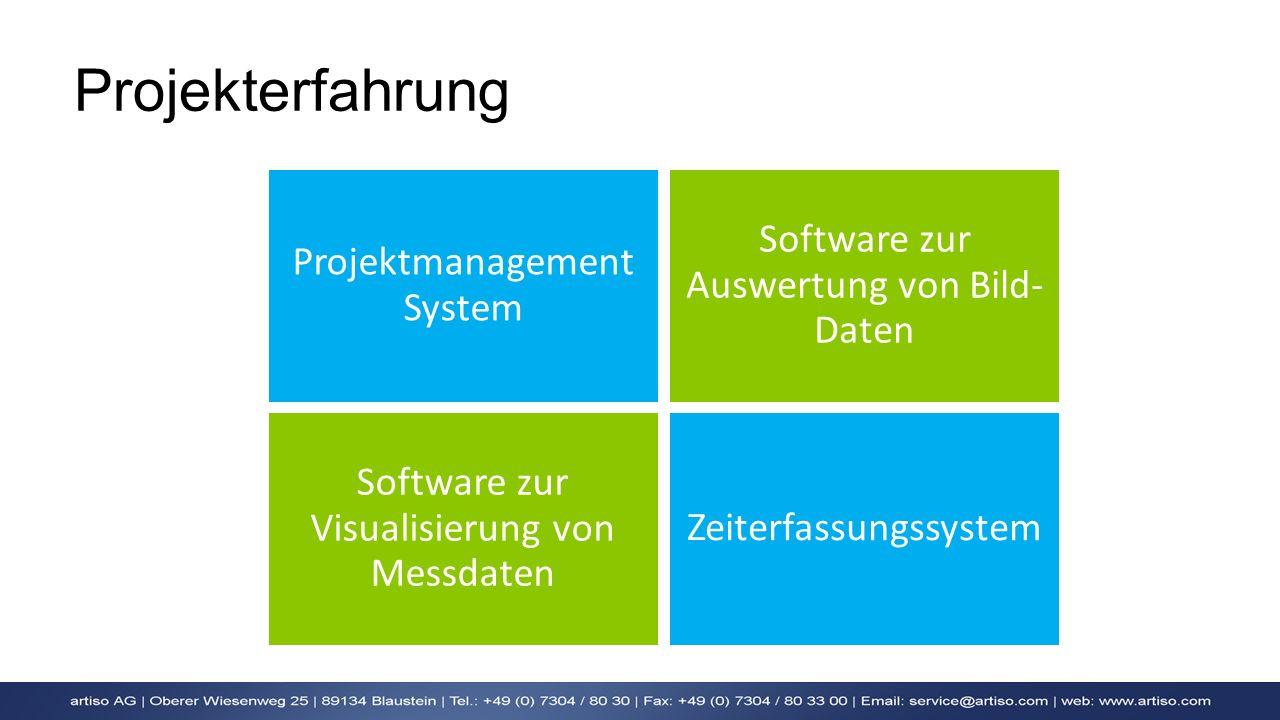 Projekterfahrung Projektmanagement System Software zur Auswertung von Bild- Daten Software zur Visualisierung von Messdaten Zeiterfassungssystem