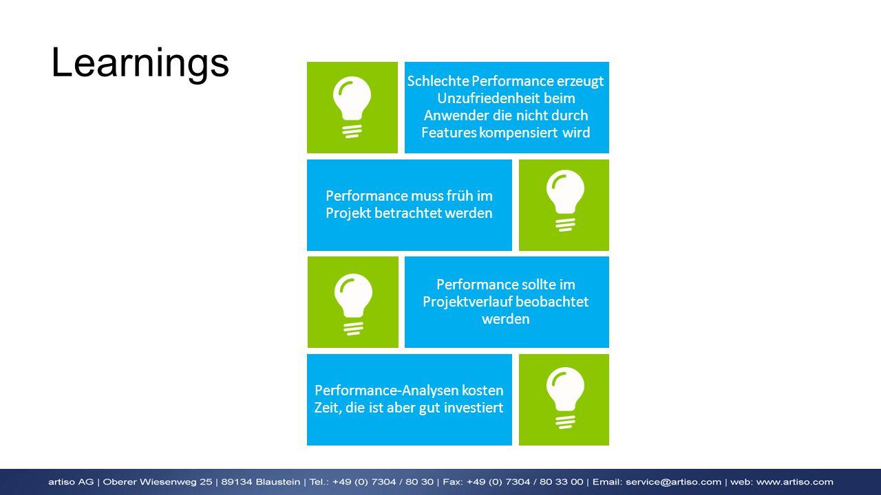 Learnings Schlechte Performance erzeugt Unzufriedenheit beim Anwender die nicht durch Features kompensiert wird Performance muss früh im Projekt betra