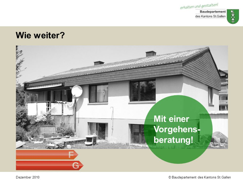 © Baudepartement des Kantons St.GallenDezember 2010 Wie weiter Mit einer Vorgehens- beratung!