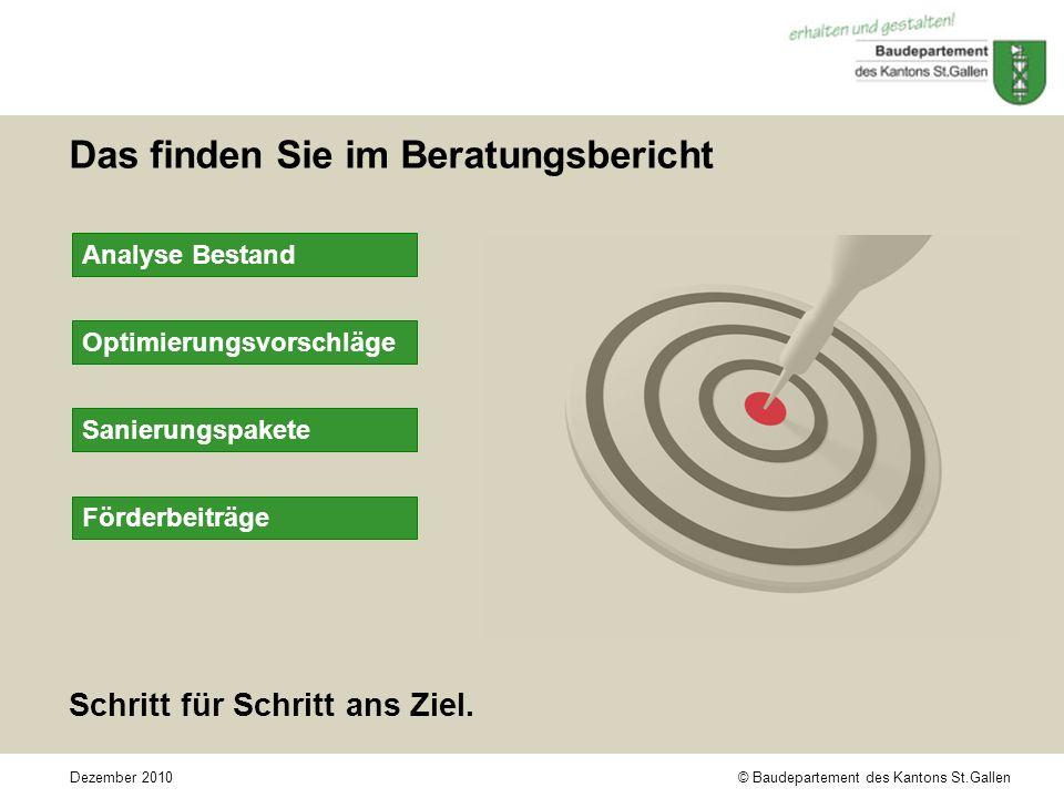 © Baudepartement des Kantons St.GallenDezember 2010 Das finden Sie im Beratungsbericht Schritt für Schritt ans Ziel.