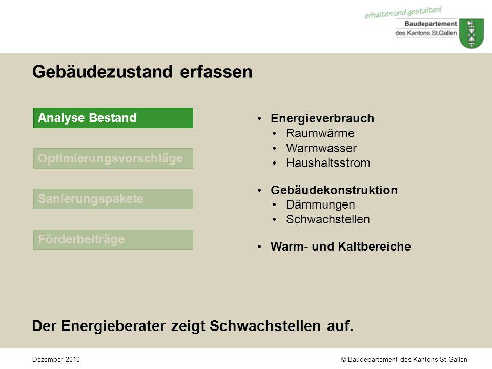 © Baudepartement des Kantons St.GallenDezember 2010 Optimierungsvorschläge Sanierungspakete Förderbeiträge Gebäudezustand erfassen Der Energieberater zeigt Schwachstellen auf.