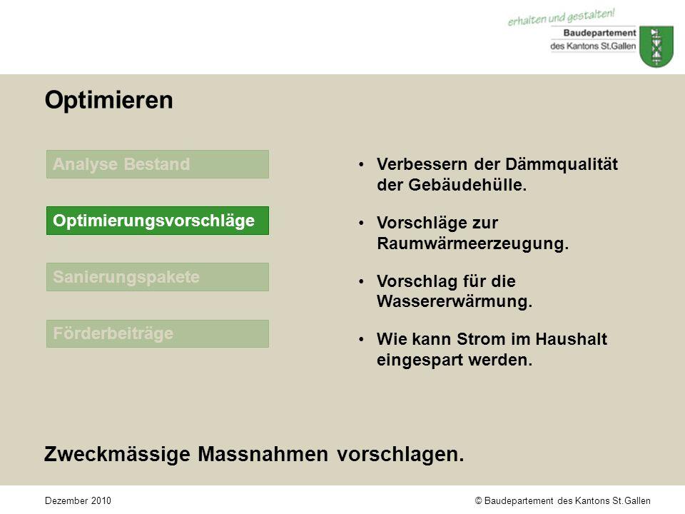 © Baudepartement des Kantons St.GallenDezember 2010 Sanierungspakete Förderbeiträge Analyse Bestand Optimieren Zweckmässige Massnahmen vorschlagen.
