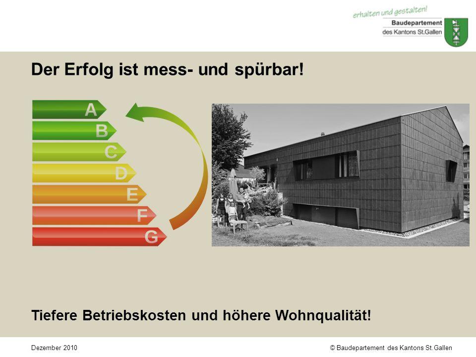 © Baudepartement des Kantons St.GallenDezember 2010 Der Erfolg ist mess- und spürbar.