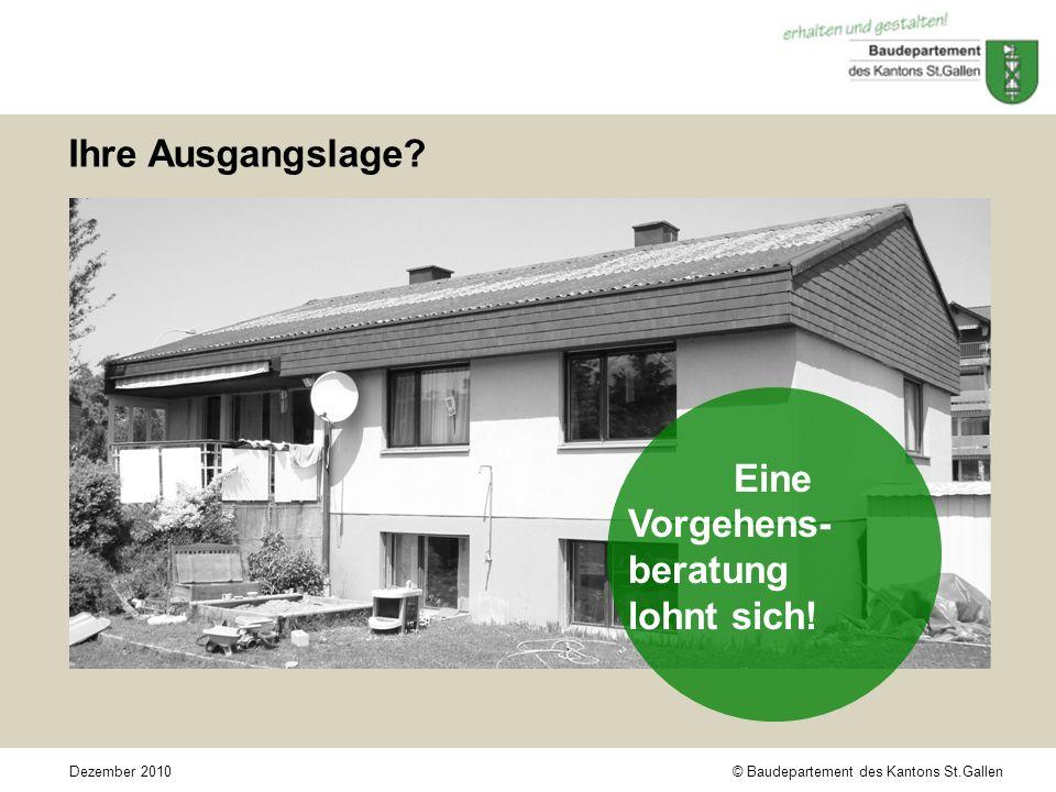 © Baudepartement des Kantons St.GallenDezember 2010 Ihre Ausgangslage.