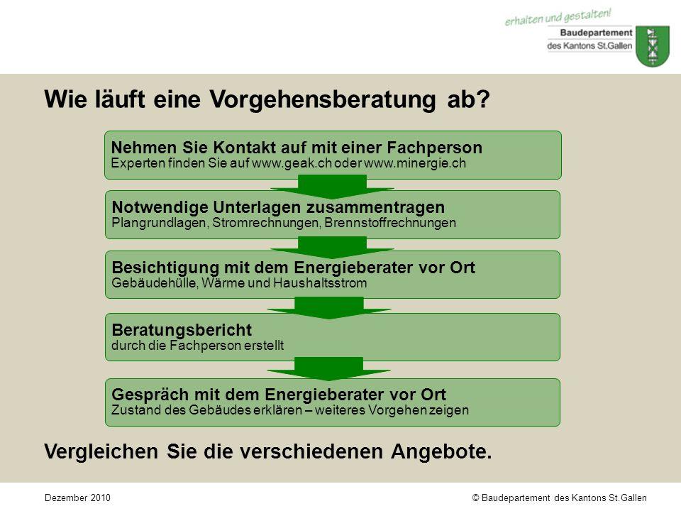 © Baudepartement des Kantons St.GallenDezember 2010 Wie läuft eine Vorgehensberatung ab.