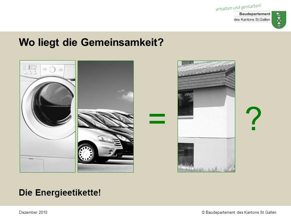 © Baudepartement des Kantons St.GallenDezember 2010 Wo liegt die Gemeinsamkeit.
