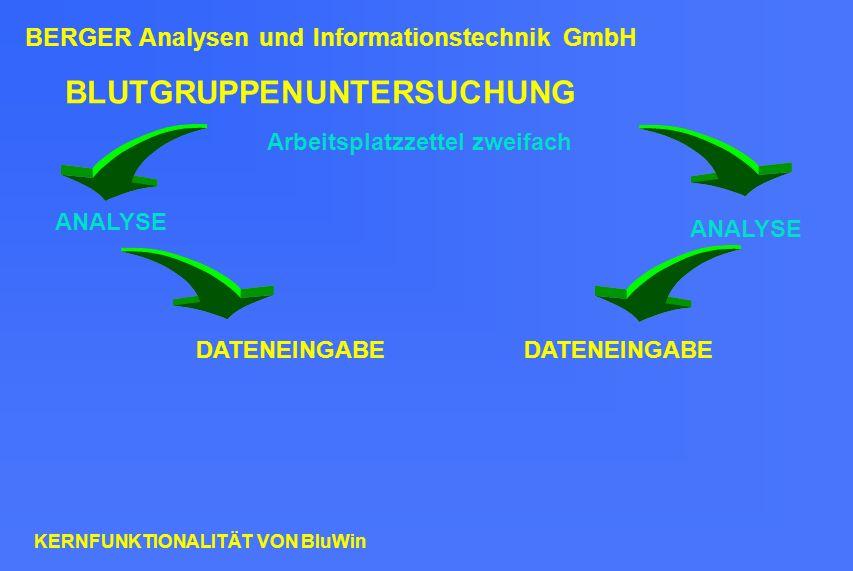BLUTGRUPPENUNTERSUCHUNG Arbeitsplatzzettel zweifach ANALYSE DATENEINGABE BERGER Analysen und Informationstechnik GmbH KERNFUNKTIONALITÄT VON BluWin