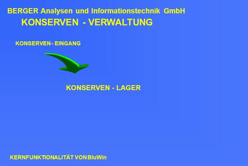 KONSERVEN - VERWALTUNG KONSERVEN - EINGANG KONSERVEN - LAGER BERGER Analysen und Informationstechnik GmbH KERNFUNKTIONALITÄT VON BluWin