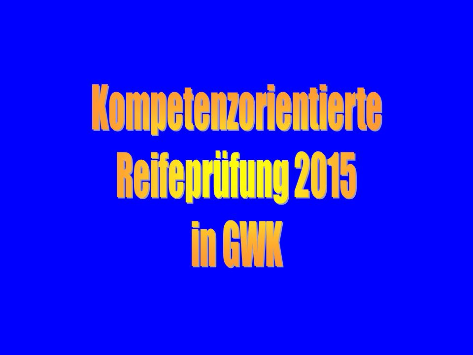 Kompetenzorientierte Reifeprüfung GWKWorkshop, 11.3.2014 Einige Links Gesetzestext, Seite des Ministeriums: http://www.bmukk.gv.at/schulen/unterricht/ba/reifepruefung.xml#toc3-id12 Plattform der steirischen Fachkoordinatoren (Skriptum): http://www3.edumoodle.at/fksteiermark GWK > Unterrichtsmaterialien > Neue Reifeprüfung > Kompetenzorientierte Fragestellung Erarbeitete Fragen des Workshops vom 11.3.2014 (ohne Gewähr): https://www.dropbox.com/sh/ihtswvnq4kxyhll/N_N_SssQjB Powerpoint LFB vom 11.März 2014: http://www.gym-hartberg.ac.at/gym/gwk/Fba/matura/NRP2015-LFB.pps Kontakt: noeres@pestalozzi.at wolfgang.fink@gym-hartberg.ac.at