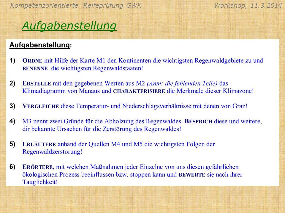 Kompetenzorientierte Reifeprüfung GWKWorkshop, 11.3.2014 Aufgabenstellung