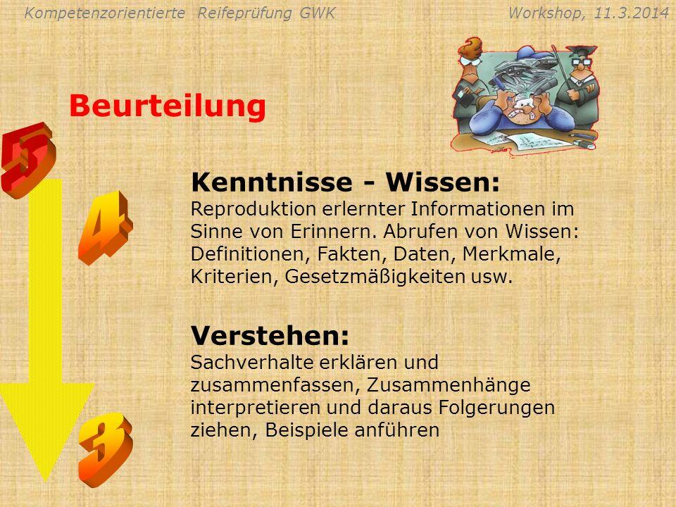 Kompetenzorientierte Reifeprüfung GWKWorkshop, 11.3.2014 Beurteilung Kenntnisse - Wissen: Reproduktion erlernter Informationen im Sinne von Erinnern.