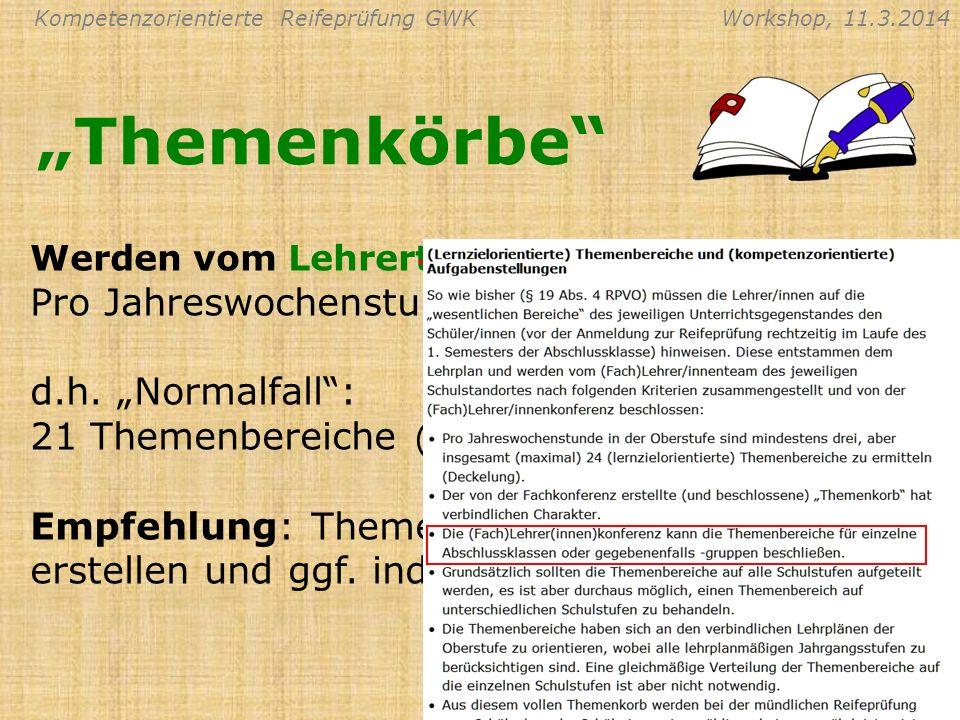 Kompetenzorientierte Reifeprüfung GWKWorkshop, 11.3.2014 Gliederung nach Lehrbuch Themen Klassen Themenkörbe