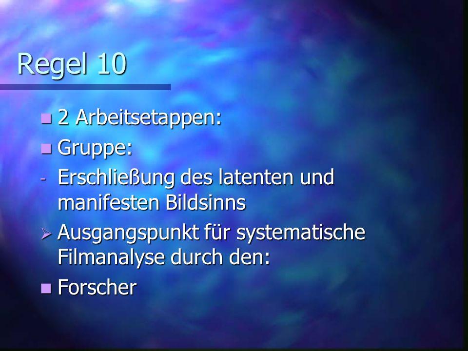 Regel 9 Kontrollfunktion der Gruppe Kontrollfunktion der Gruppe Ständige Rückkehr zur Szene / Supervision Ständige Rückkehr zur Szene / Supervision