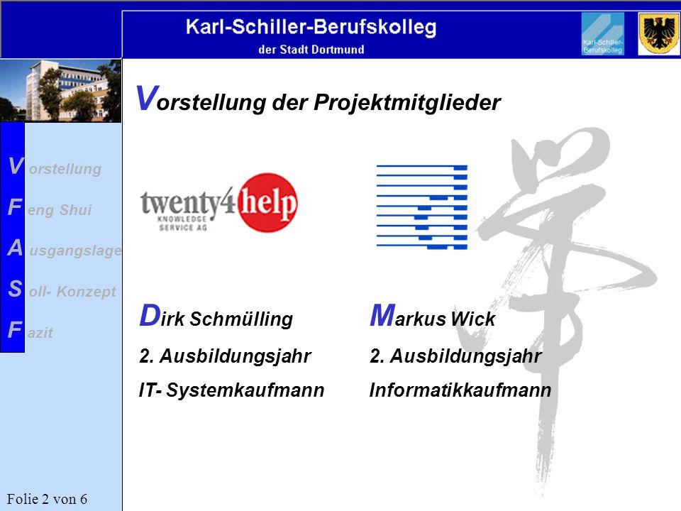 V orstellung der Projektmitglieder M arkus Wick 2. Ausbildungsjahr Informatikkaufmann D irk Schmülling 2. Ausbildungsjahr IT- Systemkaufmann V orstell