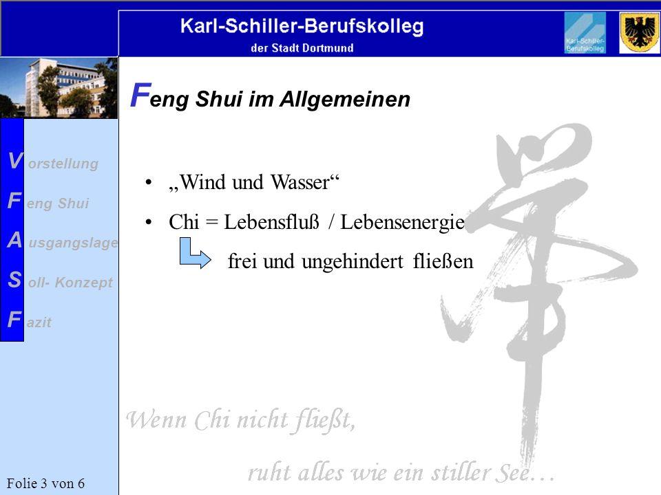 F eng Shui im Allgemeinen Wind und Wasser Chi = Lebensfluß / Lebensenergie frei und ungehindert fließen Folie 3 von 6 V orstellung F eng Shui A usgang