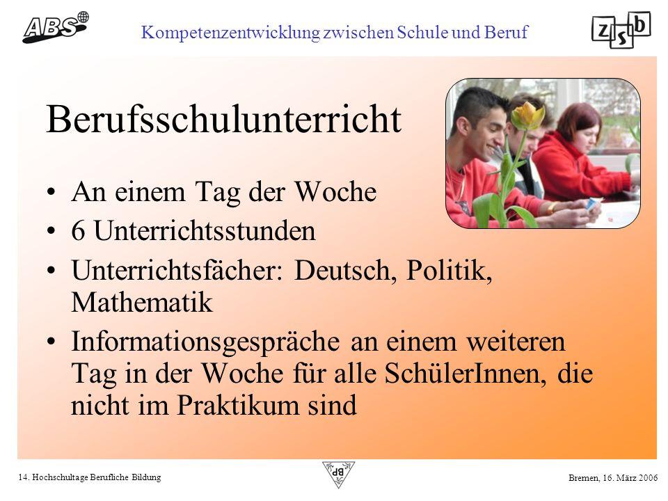 14. Hochschultage Berufliche Bildung Kompetenzentwicklung zwischen Schule und Beruf Bremen, 16. März 2006 Berufsschulunterricht An einem Tag der Woche