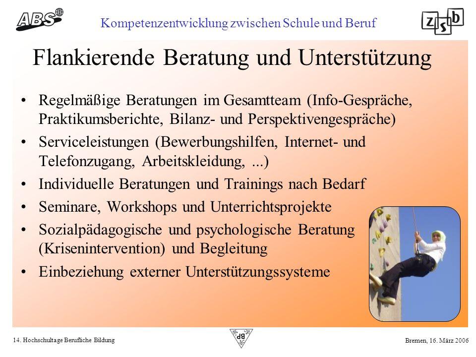 14. Hochschultage Berufliche Bildung Kompetenzentwicklung zwischen Schule und Beruf Bremen, 16. März 2006 Flankierende Beratung und Unterstützung Rege