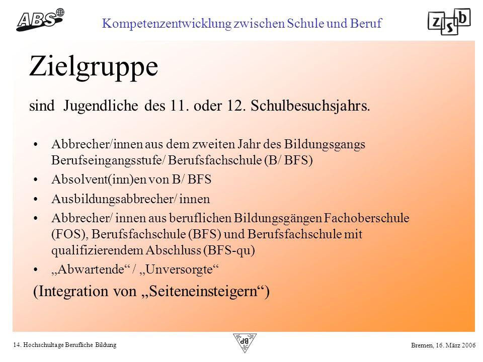 14. Hochschultage Berufliche Bildung Kompetenzentwicklung zwischen Schule und Beruf Bremen, 16. März 2006 Zielgruppe sind Jugendliche des 11. oder 12.