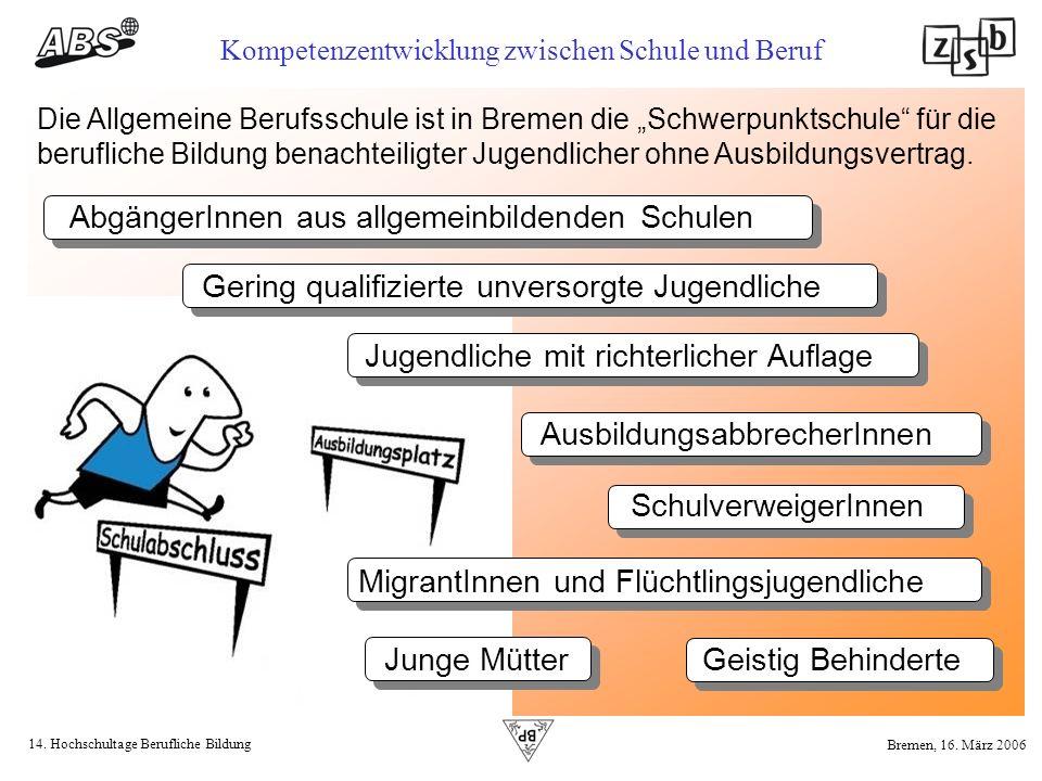 14. Hochschultage Berufliche Bildung Kompetenzentwicklung zwischen Schule und Beruf Bremen, 16. März 2006 Die Allgemeine Berufsschule ist in Bremen di