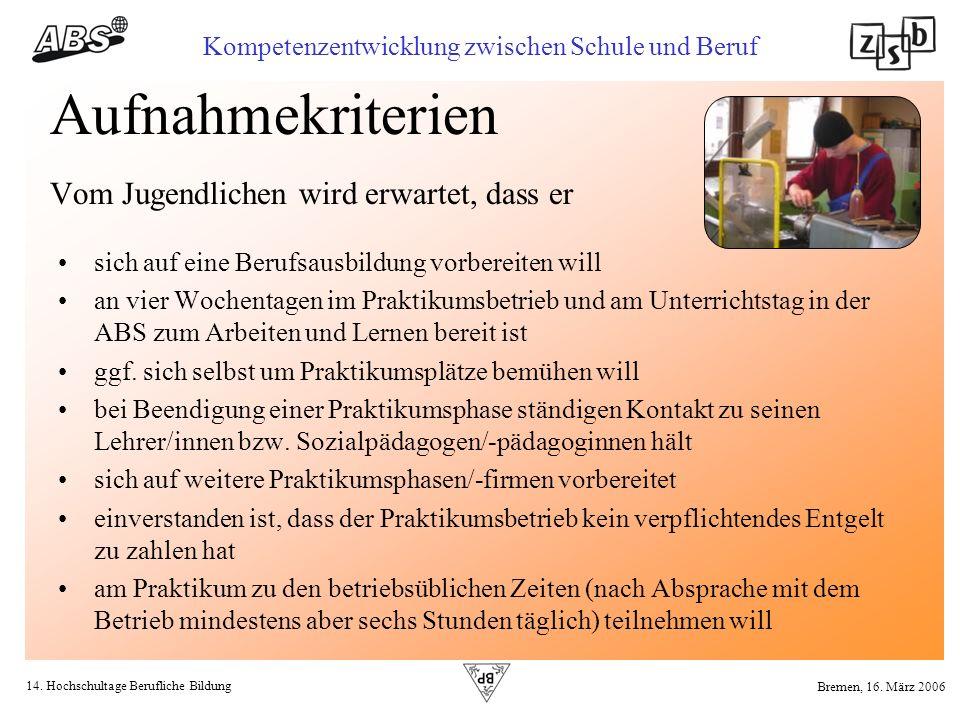 14. Hochschultage Berufliche Bildung Kompetenzentwicklung zwischen Schule und Beruf Bremen, 16. März 2006 Aufnahmekriterien Vom Jugendlichen wird erwa