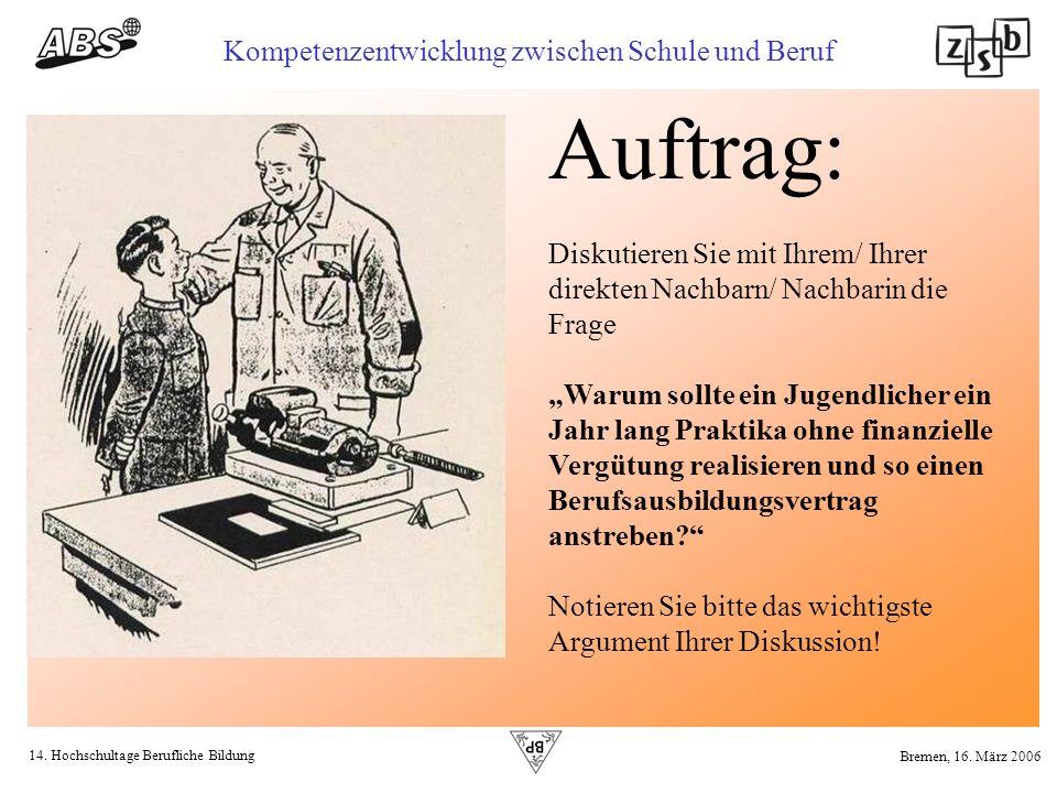 14. Hochschultage Berufliche Bildung Kompetenzentwicklung zwischen Schule und Beruf Bremen, 16. März 2006 Diskutieren Sie mit Ihrem/ Ihrer direkten Na