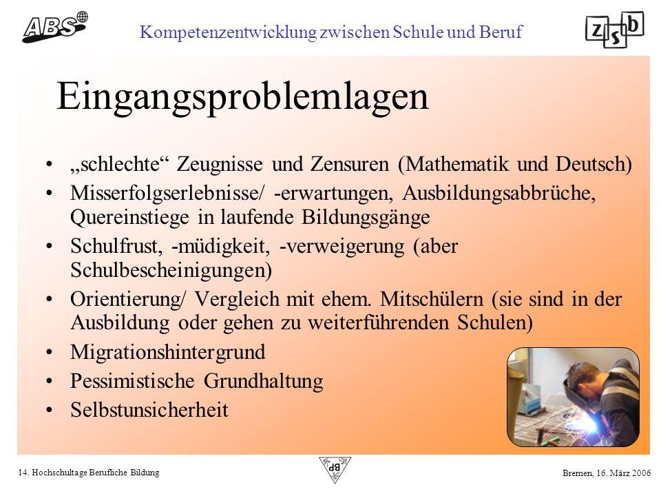 14. Hochschultage Berufliche Bildung Kompetenzentwicklung zwischen Schule und Beruf Bremen, 16. März 2006 Eingangsproblemlagen schlechte Zeugnisse und