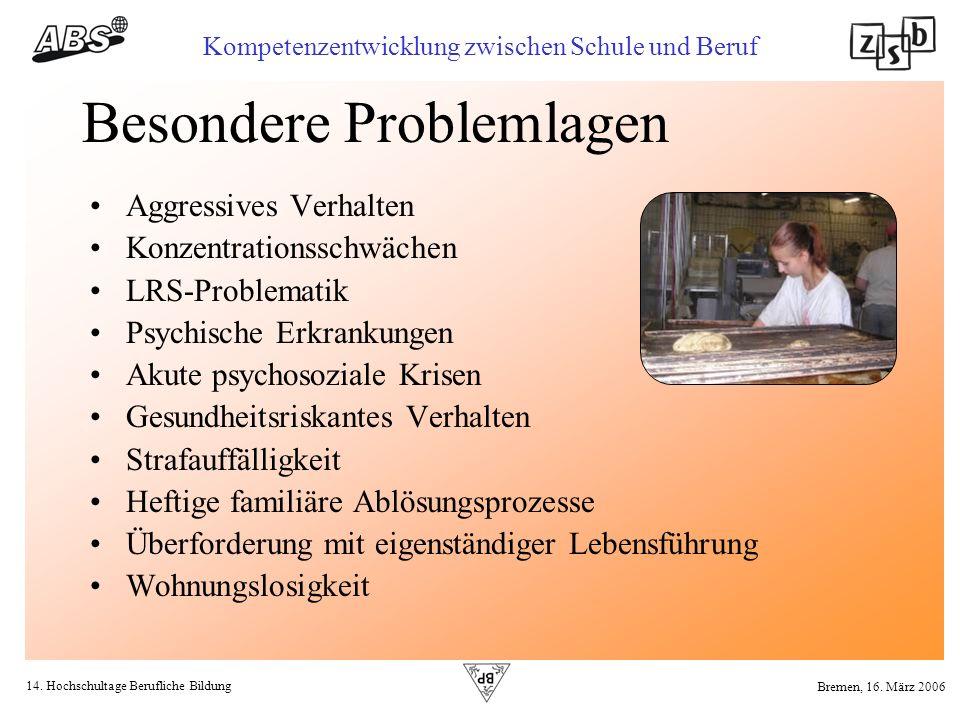 14. Hochschultage Berufliche Bildung Kompetenzentwicklung zwischen Schule und Beruf Bremen, 16. März 2006 Besondere Problemlagen Aggressives Verhalten