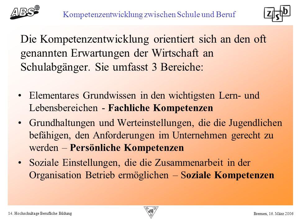 14. Hochschultage Berufliche Bildung Kompetenzentwicklung zwischen Schule und Beruf Bremen, 16. März 2006 Die Kompetenzentwicklung orientiert sich an