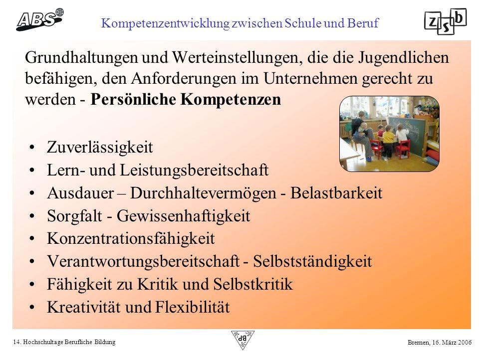 14. Hochschultage Berufliche Bildung Kompetenzentwicklung zwischen Schule und Beruf Bremen, 16. März 2006 Grundhaltungen und Werteinstellungen, die di