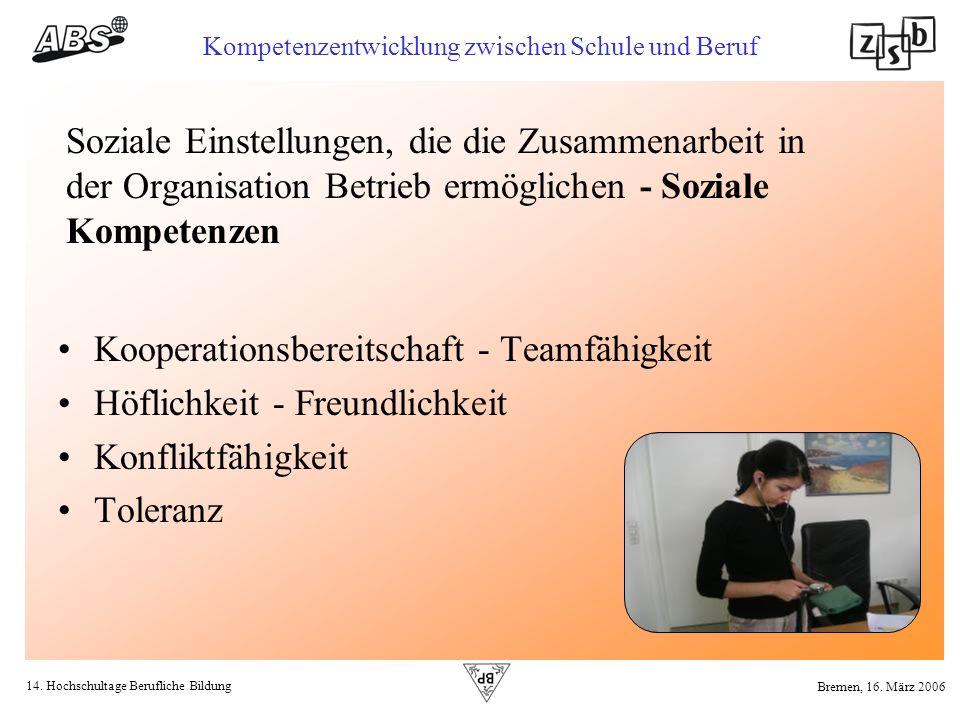 14. Hochschultage Berufliche Bildung Kompetenzentwicklung zwischen Schule und Beruf Bremen, 16. März 2006 Soziale Einstellungen, die die Zusammenarbei