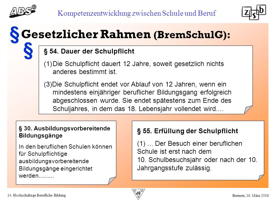 14. Hochschultage Berufliche Bildung Kompetenzentwicklung zwischen Schule und Beruf Bremen, 16. März 2006 § 30. Ausbildungsvorbereitende Bildungsgänge