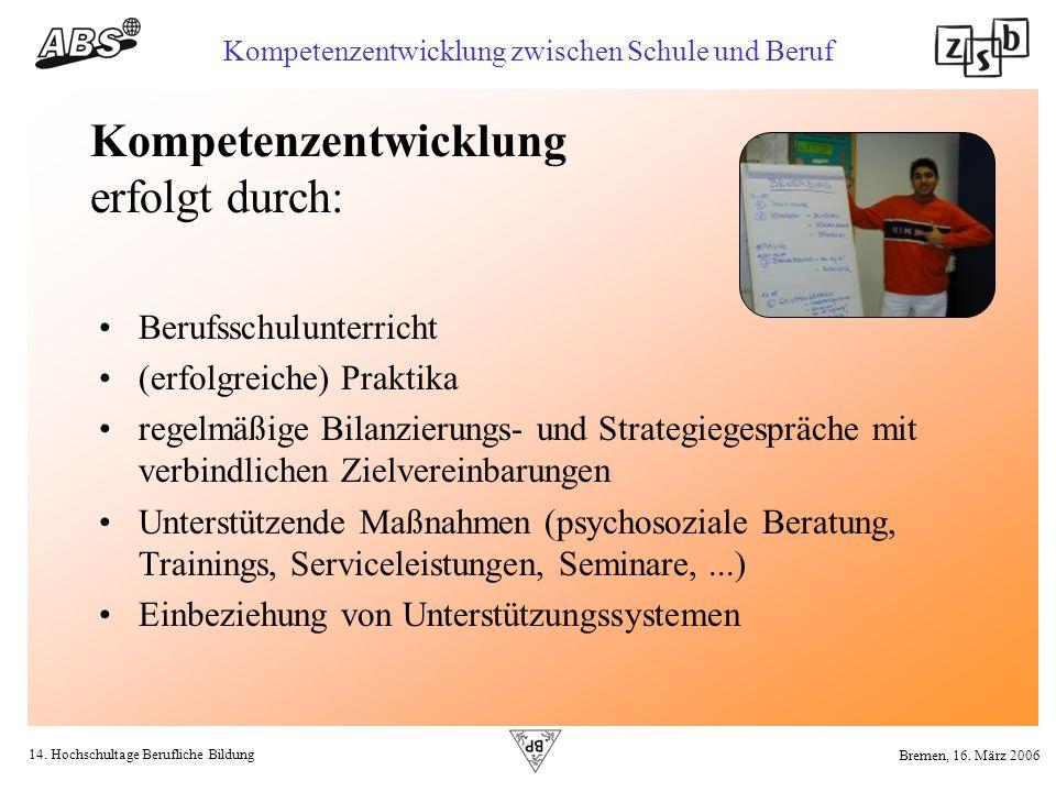 14. Hochschultage Berufliche Bildung Kompetenzentwicklung zwischen Schule und Beruf Bremen, 16. März 2006 Kompetenzentwicklung erfolgt durch: Berufssc