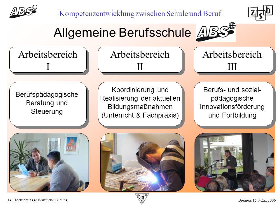 14. Hochschultage Berufliche Bildung Kompetenzentwicklung zwischen Schule und Beruf Bremen, 16. März 2006 Allgemeine Berufsschule Arbeitsbereich I Ber