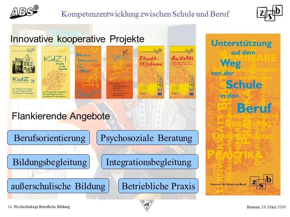 14. Hochschultage Berufliche Bildung Kompetenzentwicklung zwischen Schule und Beruf Bremen, 16. März 2006 Innovative kooperative Projekte Flankierende