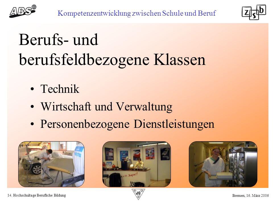 14. Hochschultage Berufliche Bildung Kompetenzentwicklung zwischen Schule und Beruf Bremen, 16. März 2006 Berufs- und berufsfeldbezogene Klassen Techn