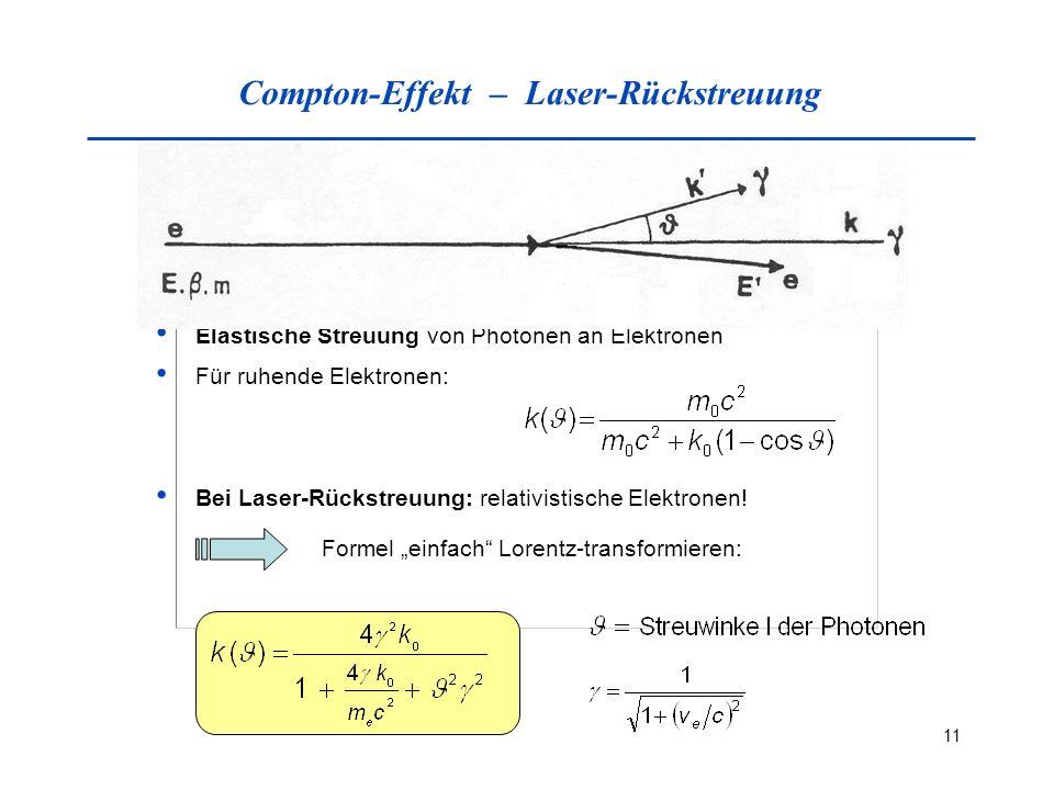 11 Compton-Effekt – Laser-Rückstreuung Elastische Streuung von Photonen an Elektronen Für ruhende Elektronen: Bei Laser-Rückstreuung: relativistische Elektronen.