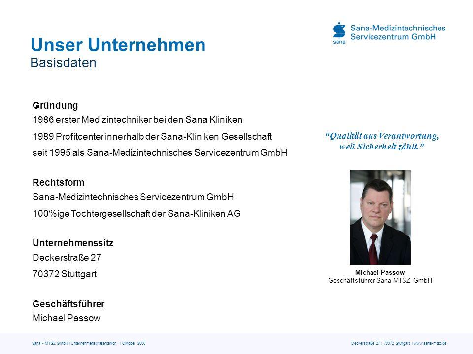 Sana - MTSZ GmbH I Unternehmenspräsentation I Oktober 2008 Deckerstraße 27 I 70372 Stuttgart I www.sana-mtsz.de Unser Unternehmen Basisdaten Qualität
