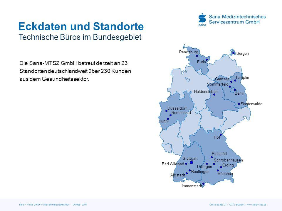 Sana - MTSZ GmbH I Unternehmenspräsentation I Oktober 2008 Deckerstraße 27 I 70372 Stuttgart I www.sana-mtsz.de Eckdaten und Standorte Technische Büro