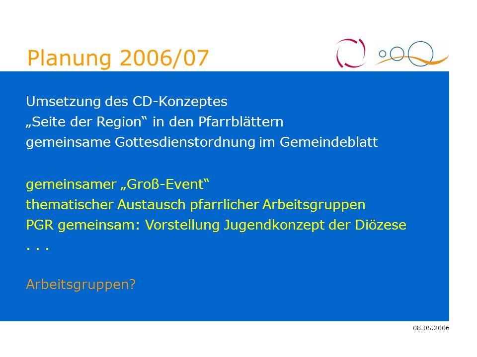 08.05.2006 4.11.2005 Planung 2006/07 Seite der Region in den Pfarrblättern Umsetzung des CD-Konzeptes thematischer Austausch pfarrlicher Arbeitsgruppe