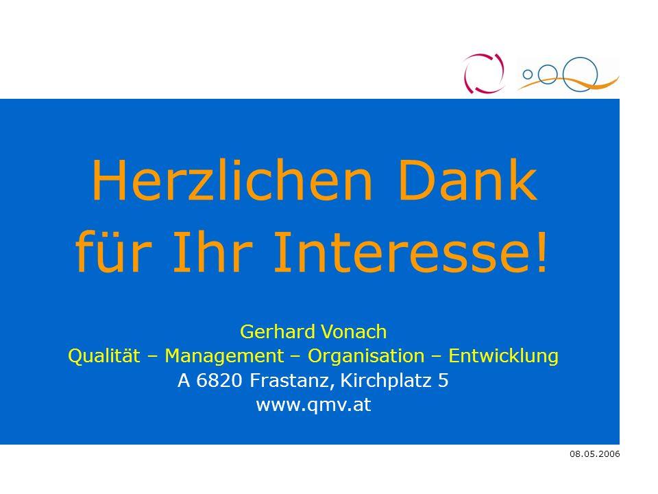 08.05.2006 4.11.2005 Herzlichen Dank für Ihr Interesse! Gerhard Vonach Qualität – Management – Organisation – Entwicklung A 6820 Frastanz, Kirchplatz