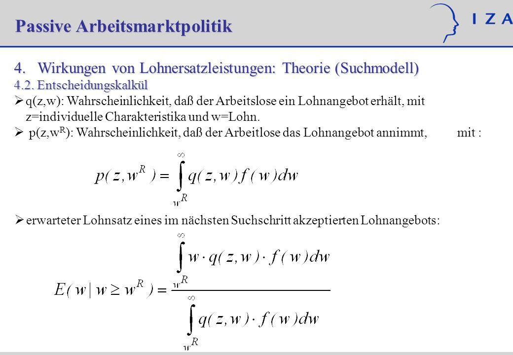 4. Wirkungen von Lohnersatzleistungen: Theorie (Suchmodell) 4.2.Entscheidungskalkül q(z,w): Wahrscheinlichkeit, daß der Arbeitslose ein Lohnangebot er